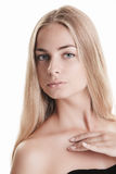Blond beauty on white Stock Images
