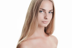 Blond beauty on white Stock Image