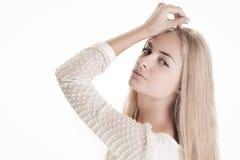 Blond beauty on white Stock Photo