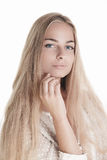 Blond beauty on white Royalty Free Stock Photo