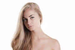 Blond beauty on white Stock Photos