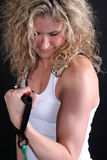 Blond Bicep Curl Stock Photo