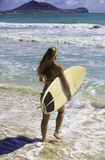 Blond in bikini with surfboard Royalty Free Stock Photo