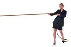 blond bizneswomanu ciągnięcia arkana Zdjęcia Stock