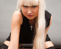 Blond in black Royalty Free Stock Image