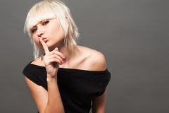Blond in black Royalty Free Stock Photography