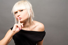 Blond in black Stock Photo