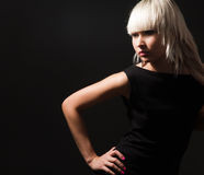 Blond in black Royalty Free Stock Photos