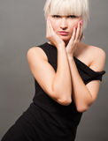 Blond in black Royalty Free Stock Images