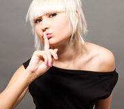 Blond in black Stock Photos