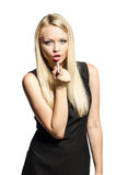 Blond in a black dress rouges lips Royalty Free Stock Photos