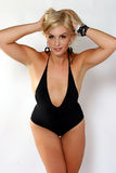 Blond in Black Swim Suit Stock Photo