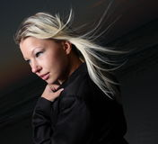 Blond blowing in the wind Royalty Free Stock Images