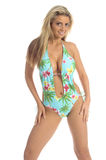 Blond in Blue Palms Monokini royalty free stock image