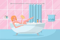 Blond Bob haircut girl in bathtub with washcloth in her hand. Bathroom interior with curtain, tile. Woman taking a bubble bath. stock illustration