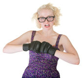 Blond with Boxing Gloves Stock Images