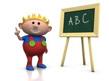 Blond boy with blackboard. 3d rendering/illustration of a cute cartoon boy in front of a blackboard raising his hand Stock Images