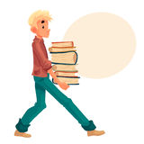 Blond boy carrying a pile of books. Boy carrying a pile of books, cartoon style vector illustration  on white background. Blond boy child kid holding a heavy Royalty Free Stock Photography