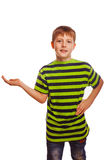 Blond boy child teenager open hand palm isolated Stock Photos