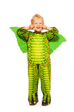 Blond boy in dragon costume full height portrait Stock Photography