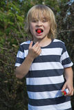 Blond boy is eating strawberry Royalty Free Stock Images