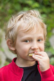The blond boy has breakfast outside Stock Images