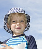 Blond boy in a hat Royalty Free Stock Photography