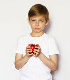 Blond boy with a pig piggy bank Royalty Free Stock Images