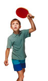 Blond boy playing table tennis forehand topspin Royalty Free Stock Photos