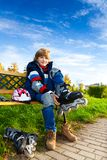Blond boy ready to skate Royalty Free Stock Photos