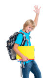 Blond boy with satchel and haft Stock Photos
