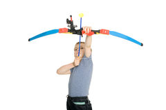 Blond boy shooting a bow Stock Photography
