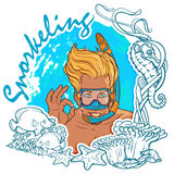 Blond boy snorkeling in frame. Blond smiling boy with snorkel and diving mask showing OK sign. Sea wildlife frame. Snorkeling card. EPS10 vector illustration Royalty Free Stock Images