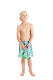 Blond boy wearing swimming shorts with swimming mask. Looking up. Blond boy wearing swimming shorts with swimming mask. Studio shot, isolated on a white Royalty Free Stock Photos