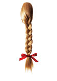 Blond braid of girl's hair Royalty Free Stock Photography