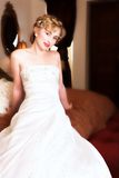 Blond bride with red lips Royalty Free Stock Photography