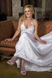 Blond Bride Wearing Wedding Gown Stock Image
