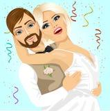 Blond brud och brudgum som har ett romantiskt ögonblick på deras bröllopdag Royaltyfri Bild