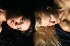 Blond and brunette Royalty Free Stock Images