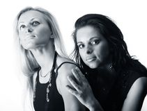 Blond and brunette Royalty Free Stock Photos