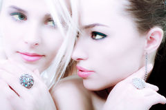 Blond and brunette Stock Image