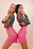 Blond and brunette sexy young women in pink Stock Photography