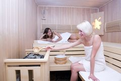 Blond and brunette women in sauna