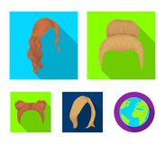 Blond with a bunch, red wavy and other types of hair. Back hair set collection icons in flat style vector symbol stock. Blond with a bunch, red wavy and other Royalty Free Stock Photography