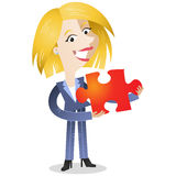 Blond business woman holding red jigsaw piece. Vector illustration of a friendly looking blond cartoon business woman holding a red jigsaw piece Royalty Free Stock Images