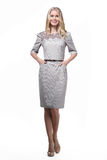 Blond business woman in official clothes ilolated on white Royalty Free Stock Photo