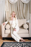 Blond business woman smiling royalty free stock image