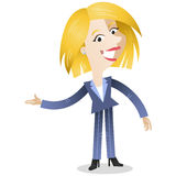 Blond business woman with welcoming gesture. Vector illustration of a blond cartoon business woman with welcoming gesture stock illustration