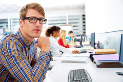 Blond businessman young in office with computer Royalty Free Stock Photo