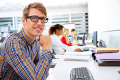 Blond businessman young in office with computer Royalty Free Stock Image